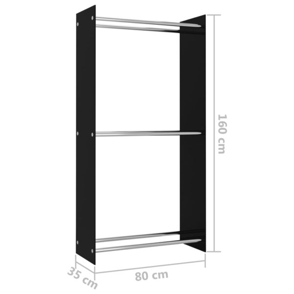 Brennholzregal Schwarz 80 x 35 x 160 cm Glas