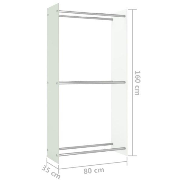 Brennholzregal Weiß 80 x 35 x 160 cm Glas