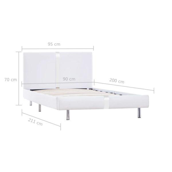 Bettgestell Weiß Kunstleder 90×200 cm