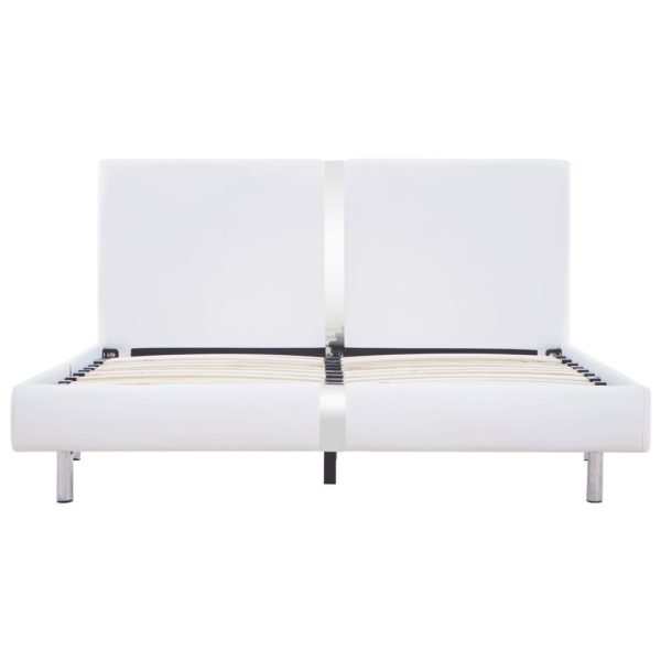 Bettgestell Weiß Kunstleder 120 x 200 cm