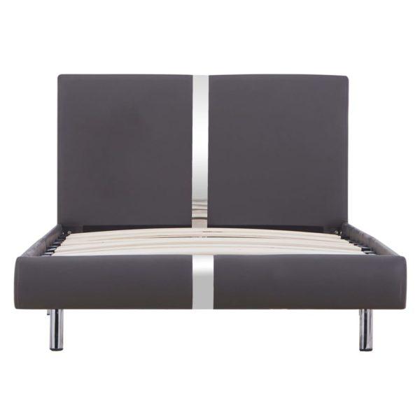 Bettgestell Grau Kunstleder 90×200 cm