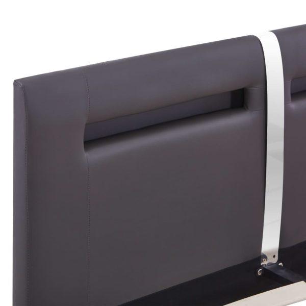 Bettgestell mit LED Grau Kunstleder 120 x 200 cm