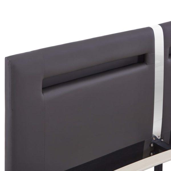 Bettgestell mit LED Grau Kunstleder 160×200 cm