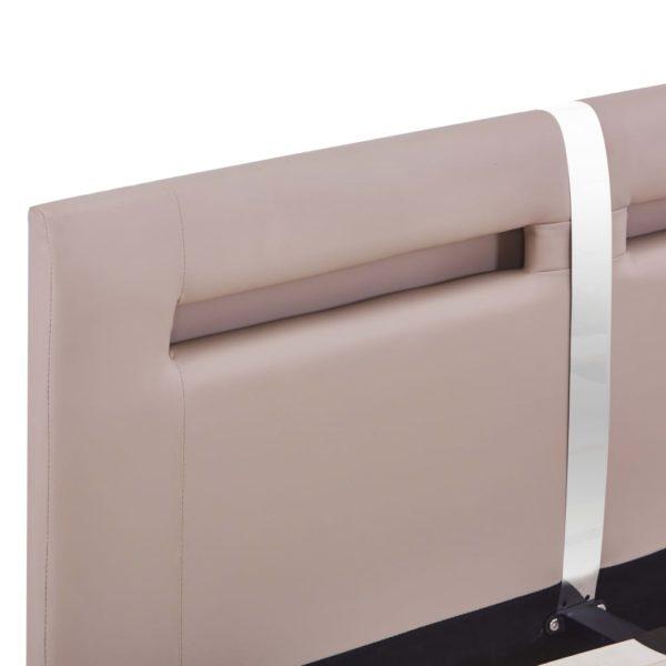 Bettgestell mit LED Cappuccino-Braun Kunstleder 120×200 cm