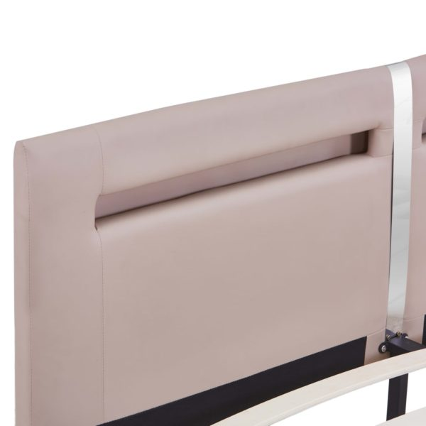 Bettgestell mit LED Cappuccino-Braun Kunstleder 160×200 cm