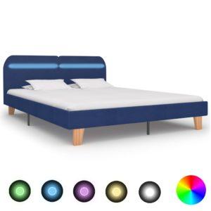 Bettgestell mit LED Blau Stoff 180×200 cm