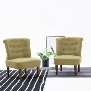 Französische Stühle 2 Stk. Grün Stoff