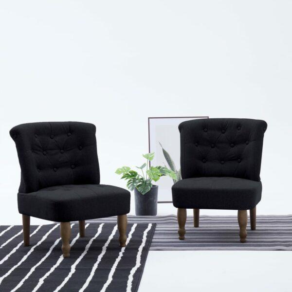 Französische Stühle 2 Stk. Schwarz Stoff