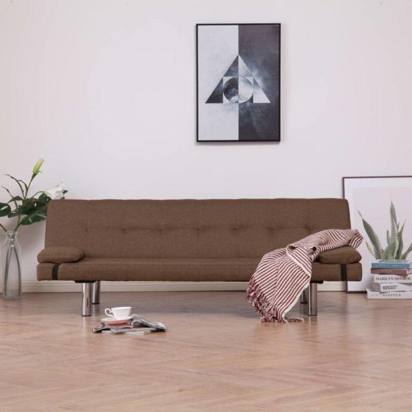 Schlafsofa mit zwei Kissen Braun Polyester