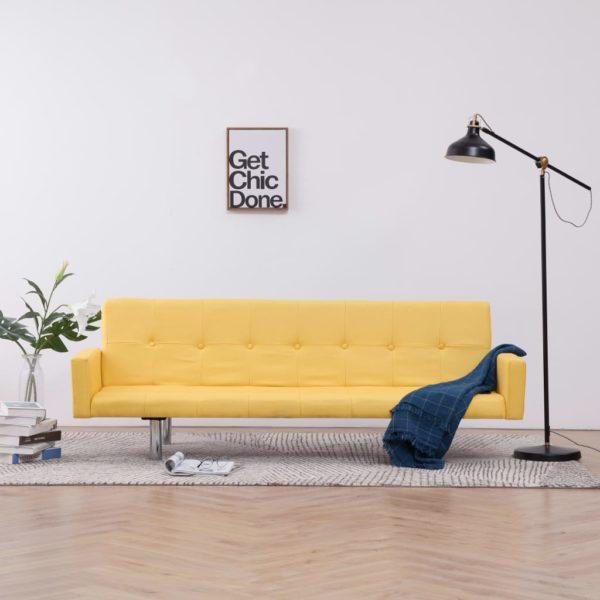 Schlafsofa mit Armlehnen Gelb Polyester