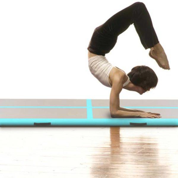 Aufblasbare Gymnastikmatte mit Pumpe 400×100×10 cm PVC Grün