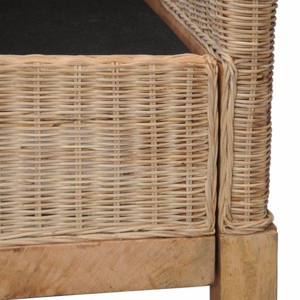 3-Sitzer-Sofa mit Polstern Natürliches Rattan