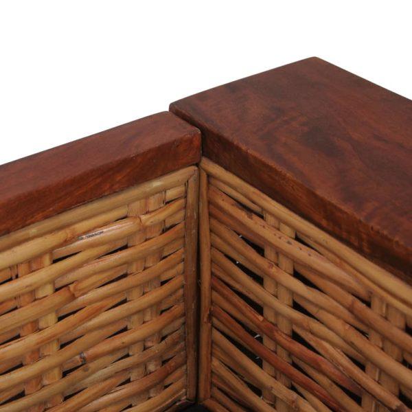 2-Sitzer-Sofa mit Auflagen Braun Natur Rattan
