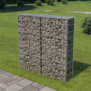 Gabionenwand mit Abdeckung Verzinkter Stahl 100×20×100 cm