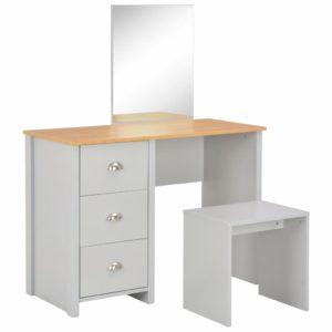 Schminktisch mit Spiegel und Hocker Grau 104 x 45 x 131 cm