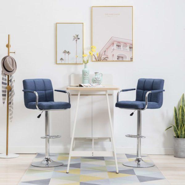 Barstühle 2 Stk. Blau Stoff