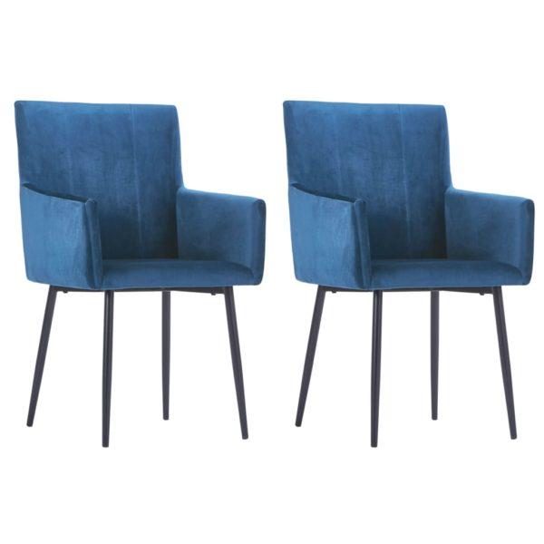 Esszimmerstühle mit Armlehnen 2 Stk. Blau Samt