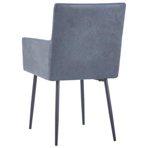 Esszimmerstühle mit Armlehnen 2 Stk. Grau Wildleder-Optik