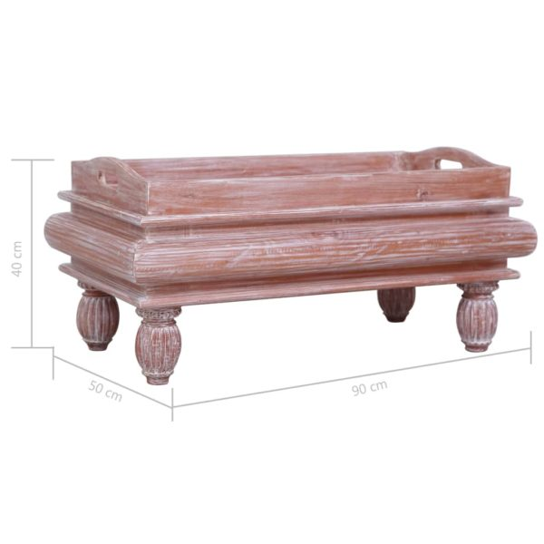 Couchtisch Braun 90 x 50 x 40 cm Massivholz Mahagoni