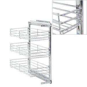 3-stufiger Ausziehbarer Küchen-Drahtkorb Silbern 47x25x56 cm