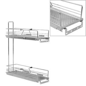 2-stufiger Ausziehbarer Küchen-Drahtkorb Silbern 47x15x54,5 cm
