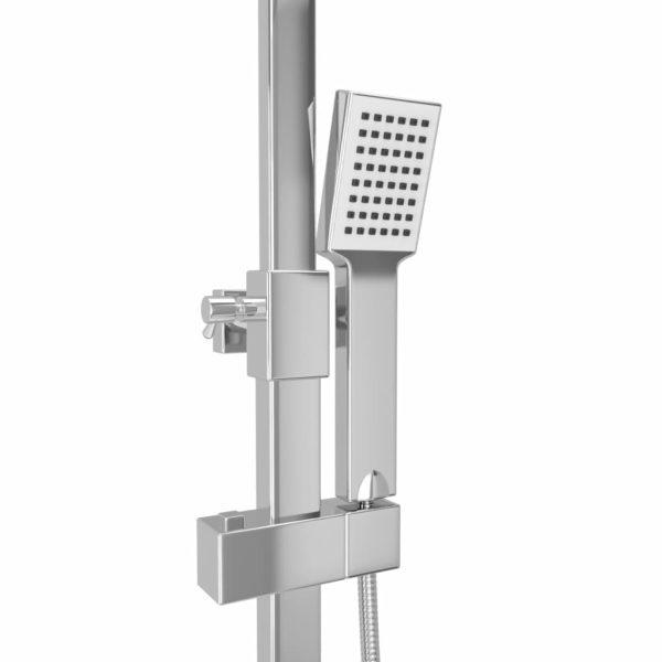 Doppelkopf-Duschset mit Thermostat Edelstahl