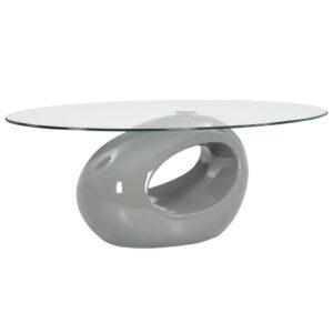 Couchtisch mit Ovaler Glas-Tischplatte Hochglanz-Grau