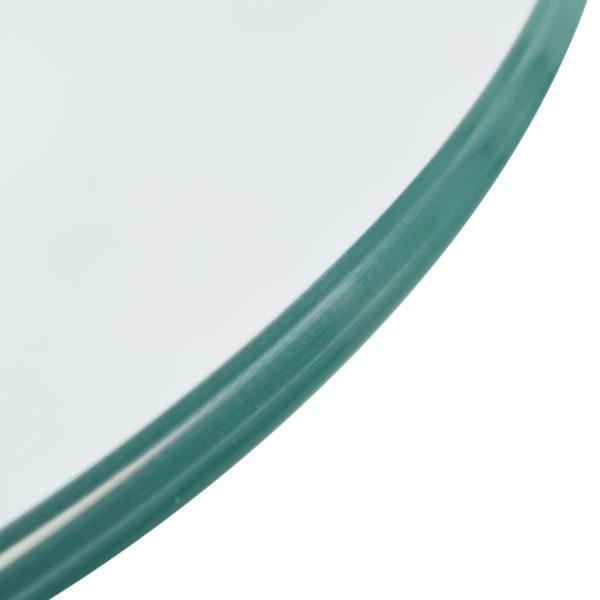 Beistelltisch mit runder Glasplatte Hochglanz Grau