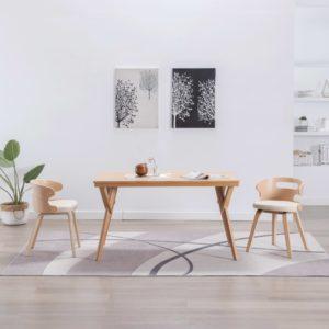 Esszimmerstühle 2 Stk. Creme Bugholz und Kunstleder