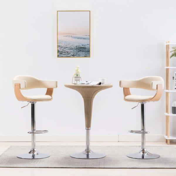 Barstühle 2 Stk. Creme Bugholz und Kunstleder