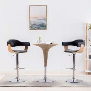 Barstühle 2 Stk. Schwarz Bugholz und Kunstleder