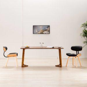 Esszimmerstühle 2 Stk. Schwarz Bugholz und Kunstleder