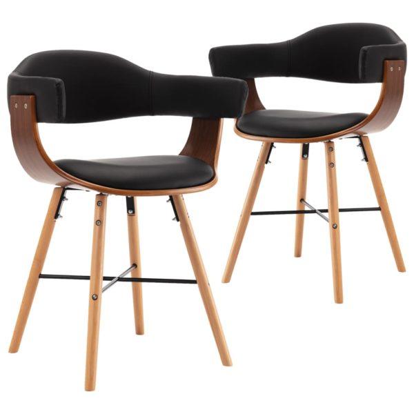 Esszimmerstühle 2 Stk. Schwarz Kunstleder und Bugholz