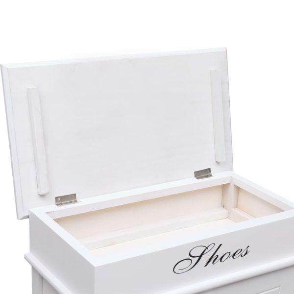 Schuhschrank Weiß 50 x 28 x 98 cm Paulownia Holz