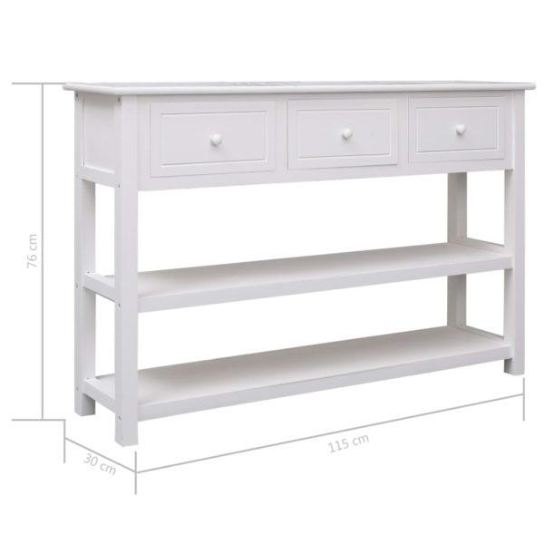 Sideboard Weiß 115×30×76 cm Holz