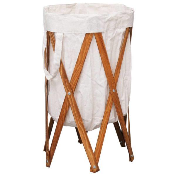 Faltbarer Wäschekorb Cremeweiß Holz und Stoff