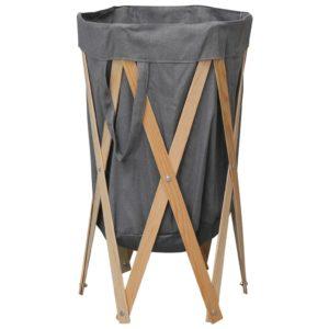 Faltbarer Wäschekorb Grau Holz und Stoff