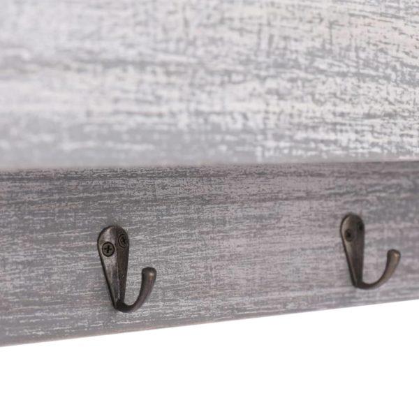 Wandgarderobe Grau 50×10×23 cm Holz