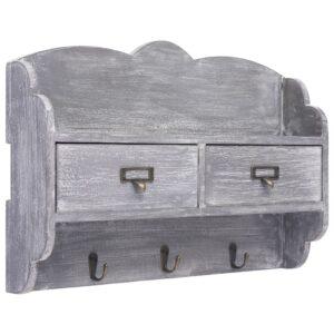 Wandgarderobe Grau 50 x 10 x 34 cm Holz