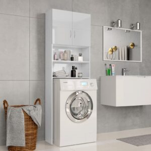 Waschmaschinenschrank Hochglanz-Weiß 64×25,5×190 cm Spanplatte