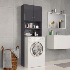 Waschmaschinenschrank Hochglanz-Grau 64×25,5×190 cm Spanplatte
