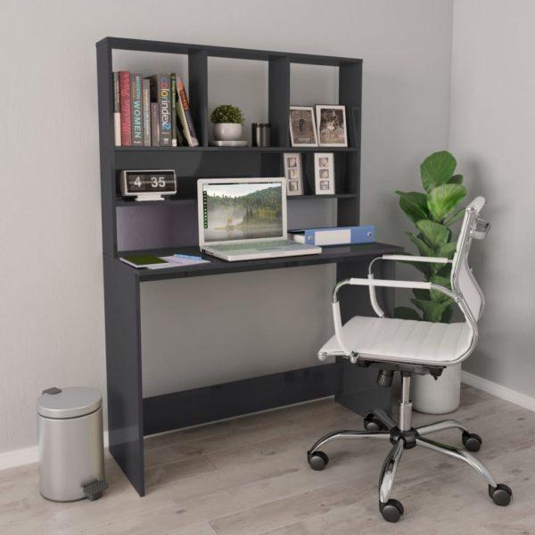 Schreibtisch mit Regalen Hochglanz-Grau 110×45×157cm Spanplatte