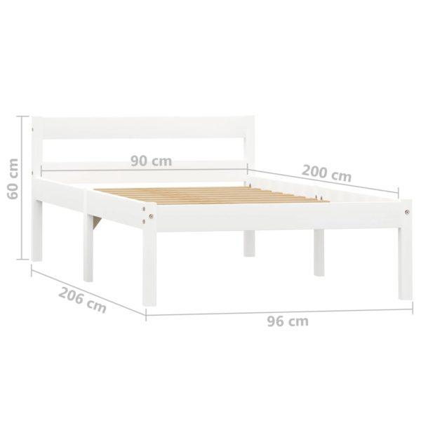 Bettgestell Weiß Massivholz Kiefer 90×200 cm