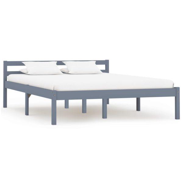 Bettgestell Grau Massivholz Kiefer 140 × 200 cm