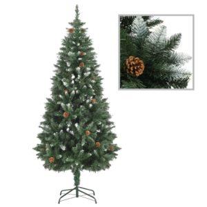 Künstlicher Weihnachtsbaum Kiefernzapfen Weißem Glitzer 180 cm