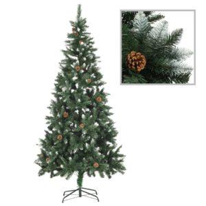 Künstlicher Weihnachtsbaum Kiefernzapfen Weißem Glitzer 210 cm