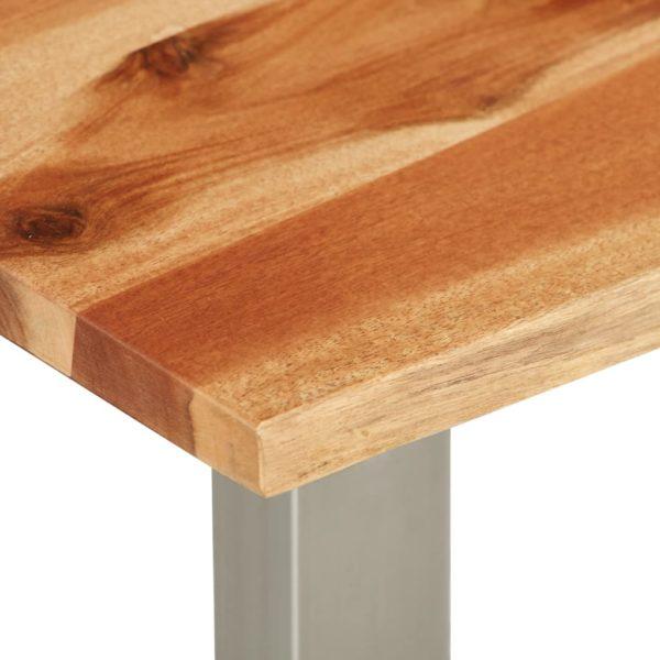 Couchtisch 100×60×40 cm Akazie Massivholz und Edelstahl