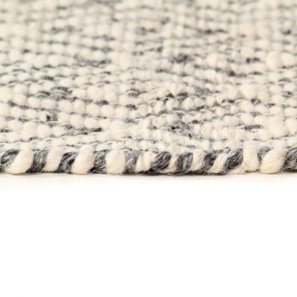 Teppich Handgewebt Wolle 140×200 cm Weiß/Grau/Schwarz/Braun