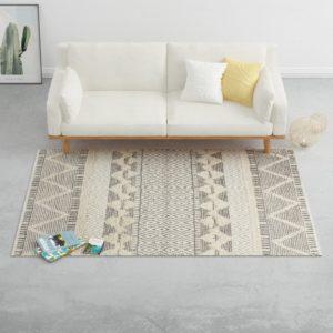 Teppich Handgewebt Wolle 160×230 cm Weiß/Grau/Schwarz/Braun