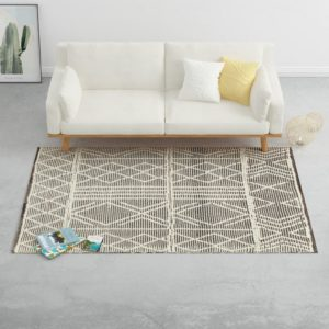 Teppich Handgewebt Wolle 120×170 cm Schwarz/Weiß